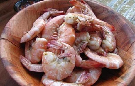 Boiled shrimp in the shell served at Skipper's Fish Camp.